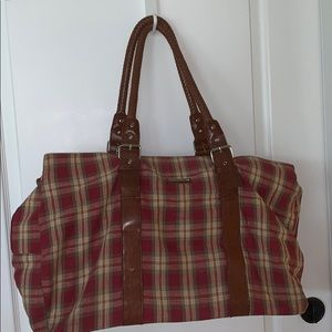 EUC Longaberger plaid & leather duffel bag